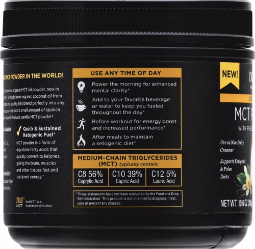Nutiva MCT Powder with Prebiotic Acacia Fiber - Vanilla Perspective: left