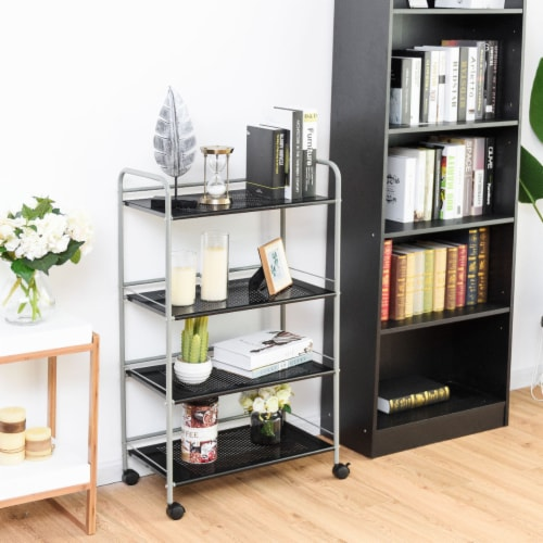 Costway 4 Tiers Rolling Storage Cart Utility Trolley Organizer Kitchen Multifunction Perspective: left