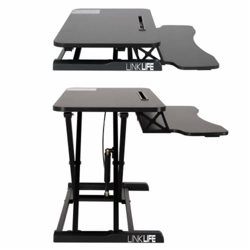 Happy Living Sit To Stand Desk Workstation - Black Perspective: left