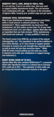 Ageless Male Max Dietary Supplement Caplets Perspective: left