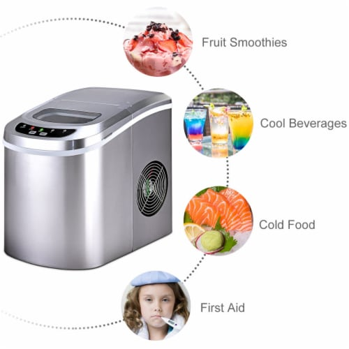 Costway Sliver Portable Compact Electric Ice Maker Machine Mini Cube 26lb/Day Perspective: left