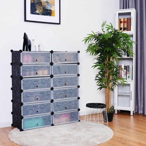 Costway 12 Cubic Portable Shoe Rack Shelf Cabinet Storage Closet Organizer Home Furni Perspective: left