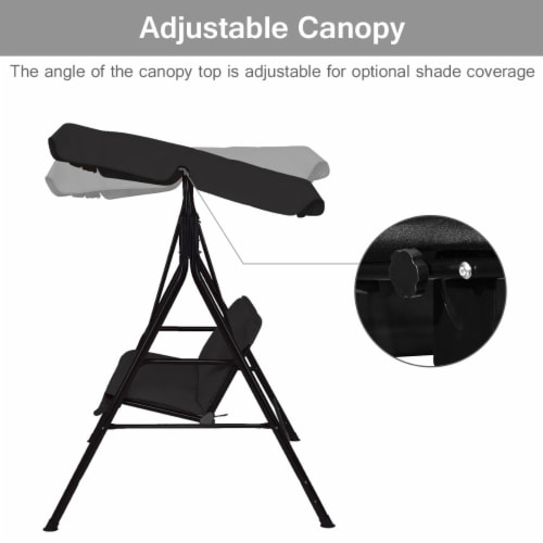 Costway Loveseat Patio Canopy Swing Glider Hammock Cushioned Steel Frame Outdoor Black Perspective: left