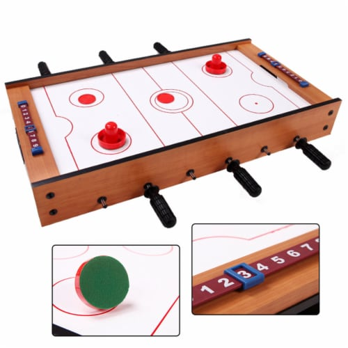 Costway 2 In 1 Table Game Air Hockey Foosball Table Christmas Gift For Kids In/Outdoor Perspective: left