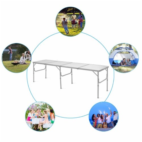 Costway 8FT Aluminum Folding Picnic Camping Table Lightweight In/Outdoor Garden Party Perspective: left