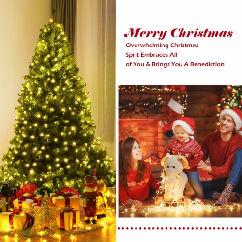 Costway 6Ft Pre-Lit Artificial Christmas Tree Hinged 350 LED Lights Perspective: left