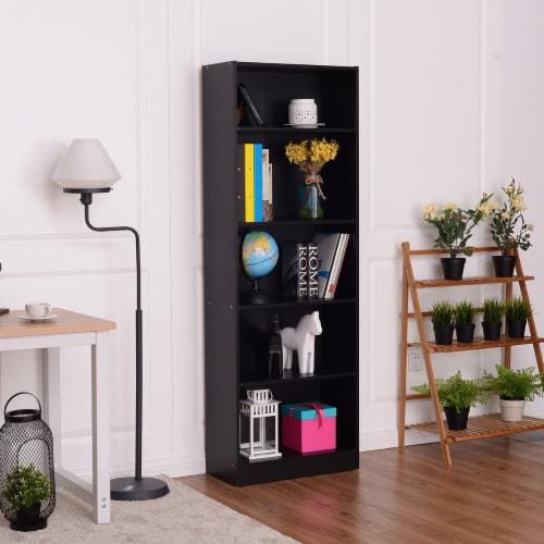 Costway Modern 5 Tier Shelf Bookcase Storage Media Storage Organization Cabinet Black Perspective: left