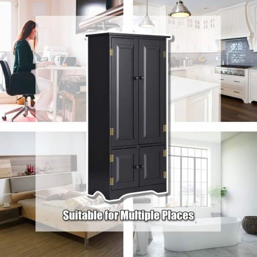 Costway Accent Storage Cabinet Adjustable Shelves Antique 2 Door Floor Cabinet Black Perspective: left