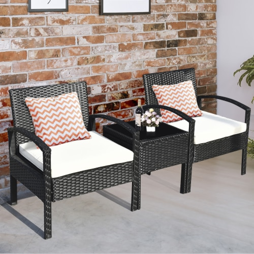 Costway 3PCS Patio Rattan Furniture Set Table & Chairs Set with Coushions Outdoor Perspective: left