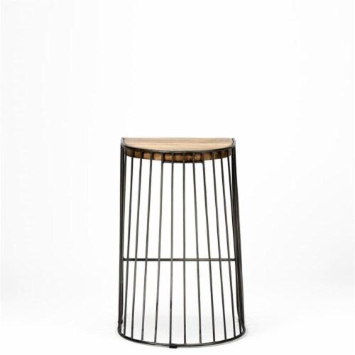 Merana Seagram 26.5  Seat Height Brown Wood Seat Black Metal Frame Stool Perspective: left