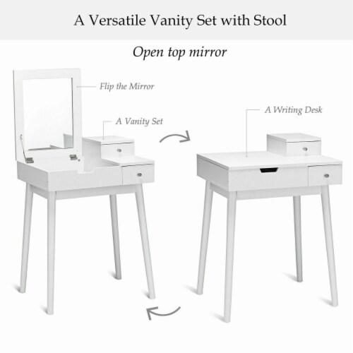 Costway Vanity Dressing Table Flip Desk Furniture Stool 2 White Perspective: left