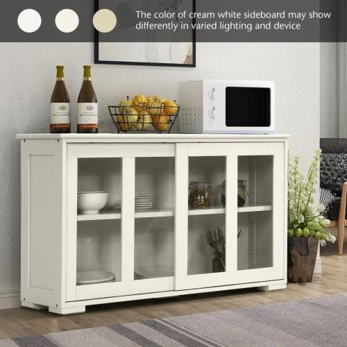 Costway Storage Cabinet Sideboard Buffet Cupboard Glass Sliding Door Pantry Kitchen Off-White Perspective: left