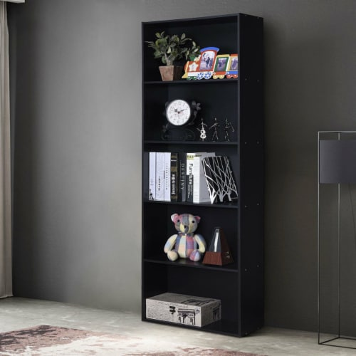 Costway 5-Shelf Storage Bookcase Modern Multi-Functional Display Cabinet Furniture Black Perspective: left