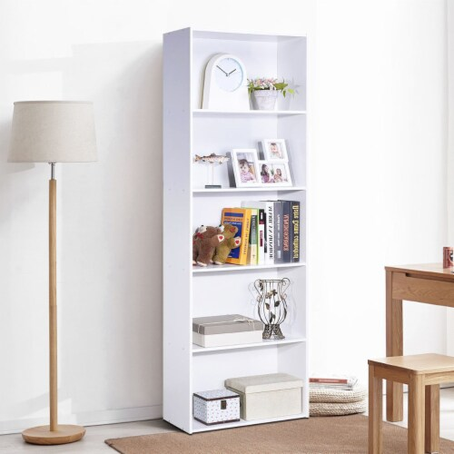 Costway 5-Shelf Storage Bookcase Modern Multi-Functional Display Cabinet Furniture White Perspective: left