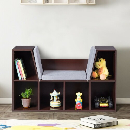 Costway 6 Cubby Kid Storage Cabinet Cushioned Bookcase Multi-Purpose Reading Shelf Brown Perspective: left