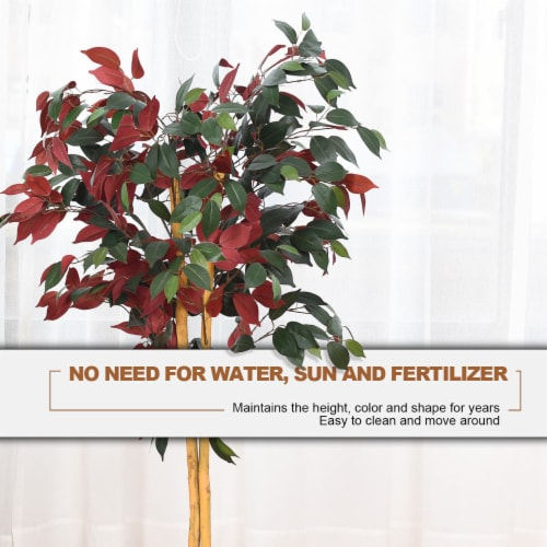 Gymax Artificial Capensia Bush Home Decor 4 Feet Red Green Leaves Perspective: left