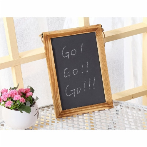 Hanging Chalkboard Signs with White Chalk Sticks (7 x 10 In, 3 Pack) Perspective: left
