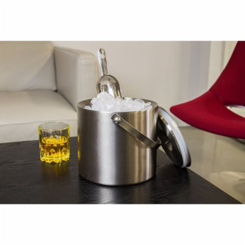 Insulated Stainless Steel Ice Bucket with Scoop, Lid and Handle (6.6 x 7.5 in) Perspective: left
