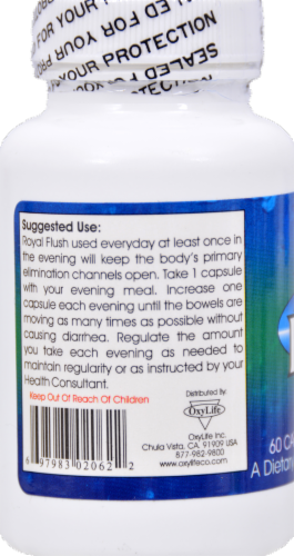 Oxylife Royal Flush Bowel Stimulant Capsules Perspective: left