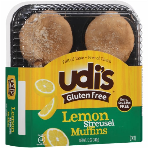Udi's Gluten Free Lemon Streusel Muffins 4 Count Perspective: left