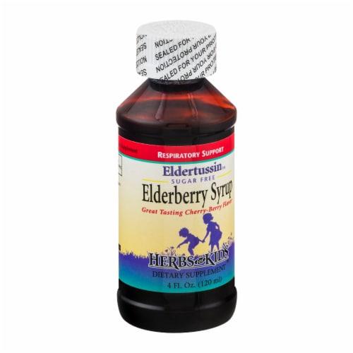 Herbs for Kids Eldertussin Sugar Free Elderberbery Syrup Perspective: left