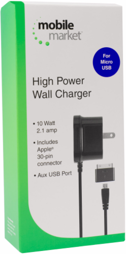 Mobile Market Micro USB and 30-Pin Wall Charger - Black Perspective: left
