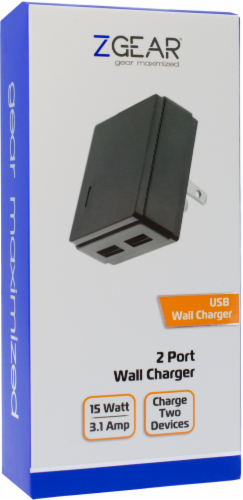 ZGear Dual-Port USB 3.4A Wall Charger - Black Perspective: left