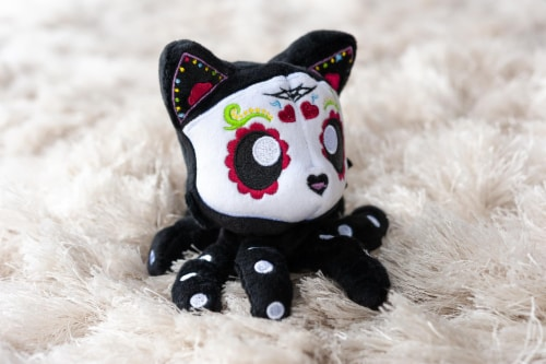 Tentacle Kitty 4-inch Little Ones Plush - Day Of The Dead Sugar Skull Design Perspective: left