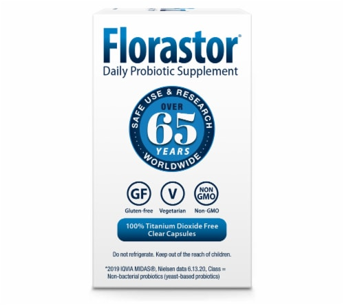 Florastor Daily Probiotic Supplement Vegetable Capsules Perspective: left