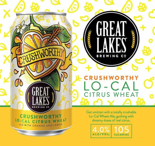 Great Lakes Brewing Co. Crushworthy Lo-Cal Citrus Wheat Beer Perspective: left