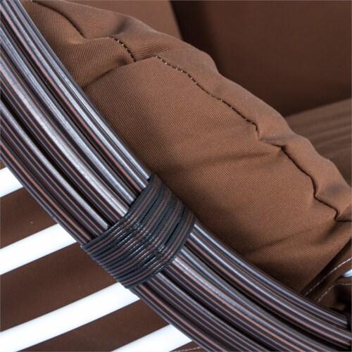 LeisureMod Modern Brown Wicker / Rattan Hanging Egg Swing Chair Indoor/Outdoor Perspective: left
