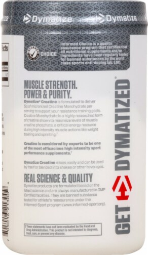 Dymatize Creatine Micronized Unflavored Supplement Perspective: left