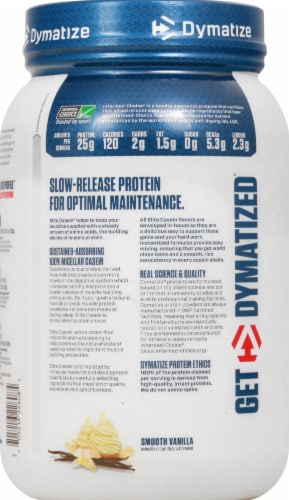 Dymatize Elite Casein Smooth Vanilla Protein Powder Perspective: left