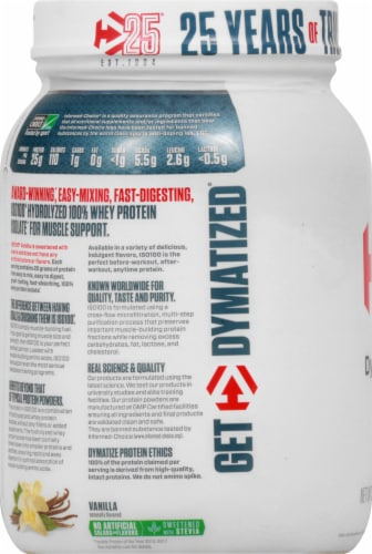 Dymatize ISO100 Hydrolyzed Natural Vanilla 100% Whey Protein Isolate Powder Perspective: left