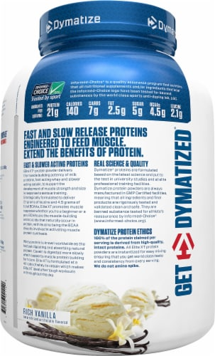 Dymatize Elite XT Rich Vanilla Protein Powder Multi-Source Protein Blend Perspective: left