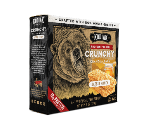 Kodiak Cakes Oats and Honey Protein-Packed Crunchy Granola Bars 6 Count Perspective: left