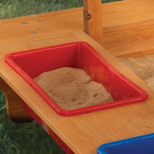 KidKraft Outdoor Children's Sandbox with Canopy - Navy & White Perspective: left