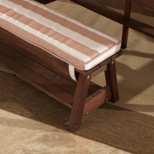 KidKraft Outdoor Children's Table & Bench Set w/ Cushions & Umbrella-Oatmeal & White Stripes Perspective: left