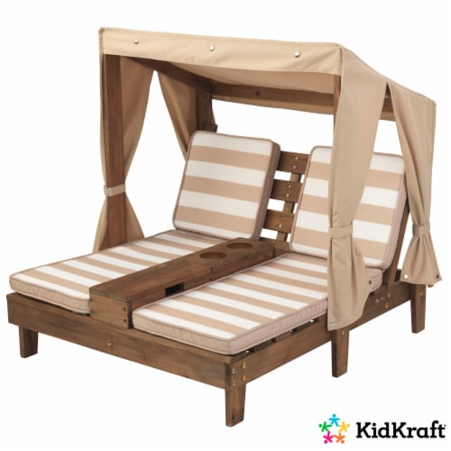 KidKraft Children's Double Chaise Lounge with Cup Holders - Espresso & Oatmeal Perspective: left