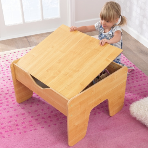KidKraft Activity Table with Board - Gray & Natural Perspective: left