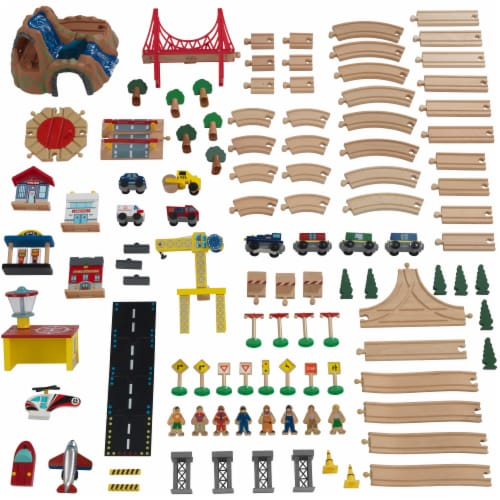 KidKraft Adventure Town Railway Train Set & Table with EZ Kraft Assembly™ Perspective: left
