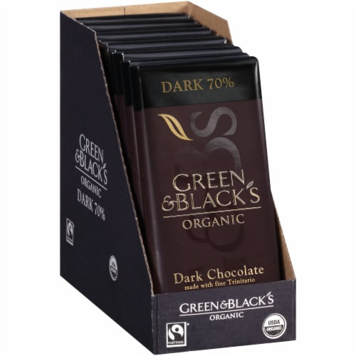 Green & Black's Organic 70% Dark Chocolate Bar Perspective: left