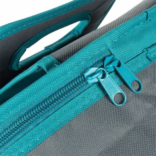 Insulated Round Thermal Casserole Food Carrier for Lunch, Teal and Grey Perspective: left