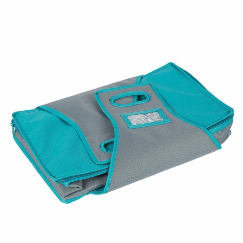 Insulated Rectangle Thermal Casserole Dish Carrier, Teal and Grey, 16 x 10 x 4 inches Perspective: left