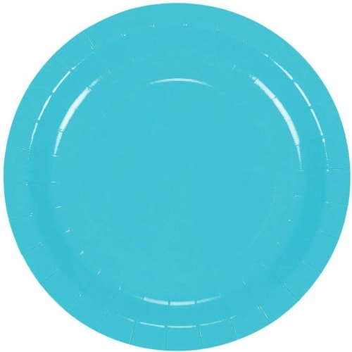 Turquoise Party Supplies, Paper Plates, Cups, and Napkins (Serves 24, 72 Pieces) Perspective: left