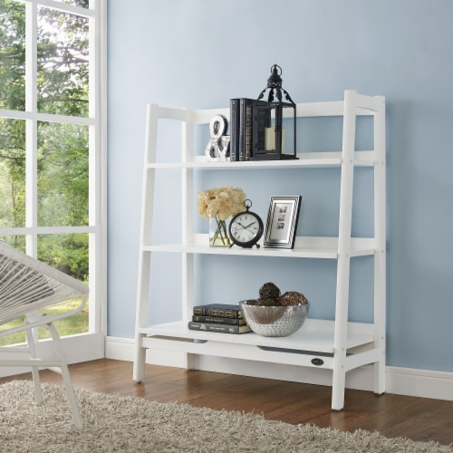 Crosley Landon Collection Tall Bookcase - White Perspective: left