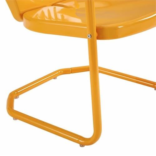 Furniture Griffith Sturdy Steel Metal Patio Chair in Orange-Crosley Perspective: left