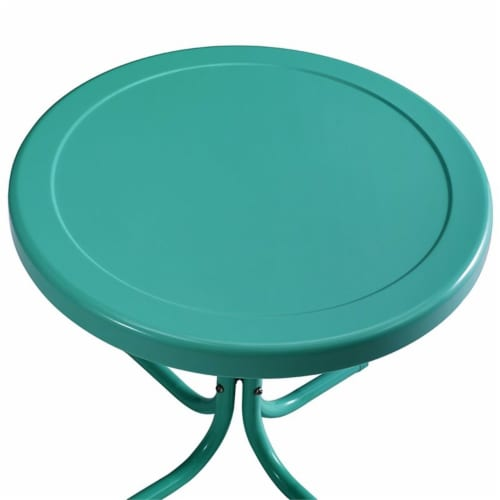 Furniture Retro Sturdy Steel Metal Patio End Table in Surf Green-Crosley Perspective: left