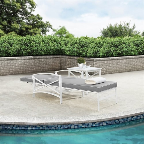 Crosley Kaplan Metal Patio Chaise Lounge in Gray and White Perspective: left