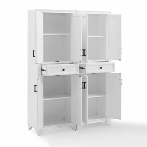 Crosley Tara 4 Door Pantry Set in Distressed White (Set of 2) Perspective: left